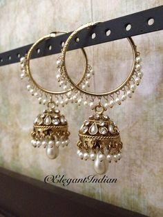Cheap Silver Rings For Women Indian Jewelry Earrings, Indian Jewelry Sets, Jewelry Design Earrings, Indian Wedding Jewelry, Bridal Jewelry, Jewelery, Pakistani Jewelry, Indian Accessories, Jhumki Earrings