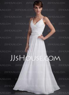 Wedding Dresses - $122.99 - Empire V-neck Floor-Length Chiffon  Charmeuse Wedding Dresses With Ruffle  Sashes (002001337) http://jjshouse.com/Empire-V-neck-Floor-length-Chiffon--Charmeuse-Wedding-Dresses-With-Ruffle--Sashes-002001337-g1337