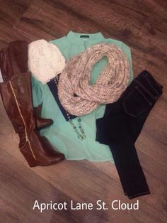 It Was Mint To Be We are loving this gorgeous mint top ($36) that is the perfect base for fun accessories! We added a navy Niki Biki tank top ($16) underneath the chiffon mint top. And it pairs nicely with a pair of skinny jeans ($68) and to die for wedge boots ($70) in this rich brown color! Yummy! And one of my personal favorite trends this fall is wearing a long necklace ($32) with a scarf ($22). It's so much fun and brings the layered look to a whole new level. And add a fun knitted…