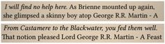 Due to an ebook formatting error, some versions of George R.R. Martin's A Feast For Crows contain his name and the book's title littered in strange places throughout the text.