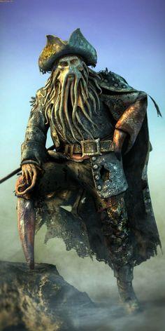 I challenge Davy Jones Caribbean Art, Pirates Of The Caribbean, Jack Sparrow Tattoos, Jack Sparrow Wallpaper, Release The Kraken, Bateau Pirate, Sea Of Thieves, Flying Dutchman, Kino Film