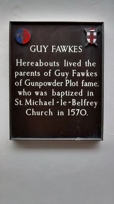 Plaque on house near site of Guy Fawkes' parental home in York
