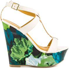 Shoe Republic Women's Orchard - White ($38) ❤ liked on Polyvore featuring shoes, sandals, wedges, heels, heeled sandals, floral wedge sandals, t strap wedge sandals, summer wedge sandals and platform wedge sandals