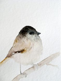 Tiny Brown Bird Original Watercolor Painting by dearpumpernickel
