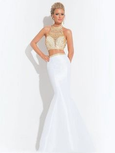 Trumpet/Mermaid High Neck Beading Sleeveless Floor-Length Satin Dresses - Two Piece Prom Dresses - Prom Dresses