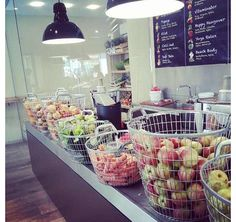 Juice bar… love the baskets of fruit customers pick and give to the staff to juice!