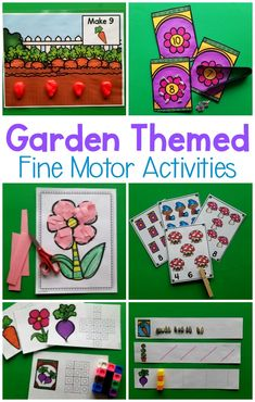 Garden themed fine motor activities. Great fine motor activities for preschool. These activities are fun to use all spring and summer long! These are great for preschool fine motor, to use in a garden unit or as an occupational therapy intervention!