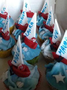 Muffin segnaposto per la festa di un amante del mare...