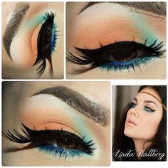 Arabic Makeup with Orange and Blue Eye Shadow