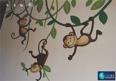 Wandschilderij aapjes die aan lianen hangen on Lizart  http://lizart.be/social-gallery/wandschilderij-aapjes