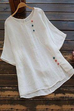 Designer Kurtis, Kurta Designs Women, Blouse Designs, Grey Women's Tops, White Tops, Stylish Dresses, Short Sleeve Blouse, Types Of Sleeves, Dress Patterns