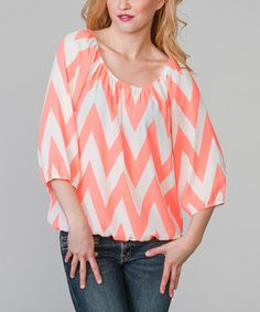 Another great find on #zulily! Magic Fit Neon Coral & White Zigzag Ruched Scoop Neck Top by Magic Fit #zulilyfinds