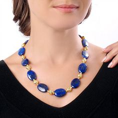 20 Inch Deep Blue Lapis Gold Over Stering Silver Necklace