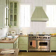 Green Color Scheme | A clean background allows for a bit of fun, like this cool Key lime hue