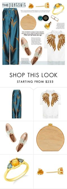 """""""The Pantsuit"""" by blossom-jewels ❤ liked on Polyvore featuring Dries Van Noten, Edie Parker, Maryam Keyhani, Gucci, Anja, contestentry, thepantsuit and Blossomjewels"""