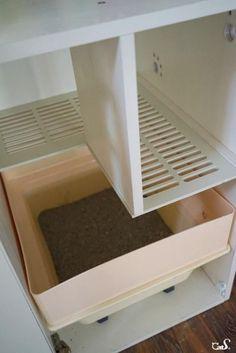 Cat Training Litter Box Cat Litter Box_Cat Litter Box its tree_做一只有生活品质的喵 Hiding Cat Litter Box, Hidden Litter Boxes, Diy Litter Box, Litter Box Enclosure, Cat Litter Cabinet, Cat Care Tips, Pet Tips, Dog Care, Cat Hacks