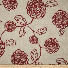 Magnolia Home Adele Crimson from @fabricdotcom  Screen printed on (approx. 6 ounce) cotton duck, this versatile, medium weight fabric is perfect for window accents (draperies, valances, curtains and swags), accent pillows, bed skirts, duvet covers, slipcovers, upholstery and other home decor accents. Create handbags, tote bags, aprons and more. Colors include crimson and ivory.