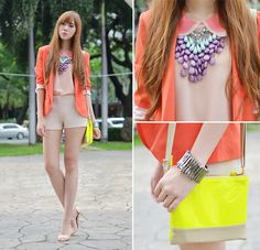 Coral (by Camille Co) its the bright colors that make up this look, without it this will look dull.
