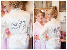 Bridal party robes Set of 6 Silk Embroidered by SandyWatersStore