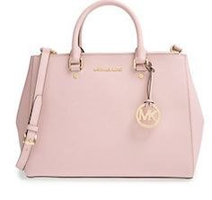 Leather light pink Michael Kors tote bag