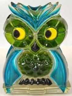 Green / Blue Glass Owl Napkin Holder