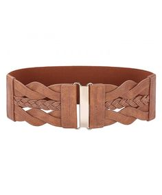 Women Plus Elastic Stretchy Retro Wide Waist Cinch Belt - Brown -  C912O9YAEXV 1615feb688f