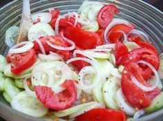 Marinated Cucumbers, onions and tomatoes - this is so refreshing, and a great way to use up your abundant crop of cucumbers and tomatoes!  I used 2 T Truvia baking sweetener in place of the sugar and it was great!