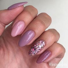 """skittles manicure in pink & mauve w/ glitter accent nail, """"New Nails! My natural nails with Bluesky Gel Polishes… Glitter Holographic Rose Gold Multi Mix."""" Source by coralclutter REPOST – – – – Mauve und. Pink Gel Nails, Mauve Nails, Gelish Nails, Rose Gold Nails, Diy Nails, French Nails Glitter, Glitter Accent Nails, Glitter Gel, Glitter Manicure"""