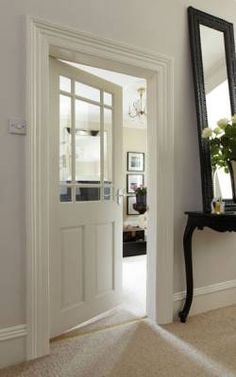 glazed door to hallway and utility room to let light into hallway from kitchen and utility & B\u0026Q - 4 Panel White Smooth Internal Glazed Door could match our ...