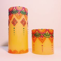 """India Meets Mexico - Pair of Henna Painted Fiesta Pillar Candle - Medium 6"""" on Etsy, $39.00"""