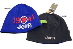 155f433301b Jeep 1941 Winter Thicken Polar Fleece Knit Ski Reversible Beanie Hat One  size fits for head circumference wool blend  Reversible style beanie