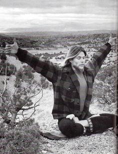 Tom Law practicing yoga in the desert near Santa Fe, New Mexico. 1970