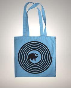 """chat noir-sac tote bag - fait main 100% coton Design """"Spiral cat"""""""