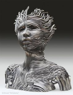Perceiving the Flow: Human Figure Composed of Unraveling Stainless Steel Ribbons by Gil Bruvel steel sculpture Metal Wall Sculpture, Steel Sculpture, Modern Sculpture, Sculpture Art, Ribbon Sculpture, Sculptures Sur Fil, Wall Sculptures, Art Visionnaire, Colossal Art