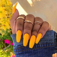The Best Coffin Nails Ideas That Suit Everyone Take an idea about what are coffin nails and how to make coffin nails? Also, here are lots of cute coffin nail designs for the best nail colors trends. Coffin Nails Matte, Cute Acrylic Nails, Gel Nails, Manicure, Acrylic Nails Yellow, Glitter Nails, Claw Nails, Pink Nail, Toenails