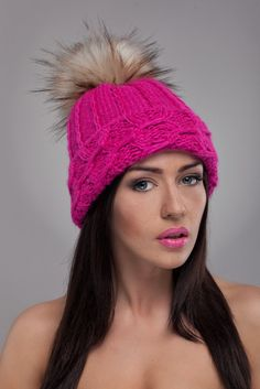 Pink Beanie with Faux Fur Pom Pom