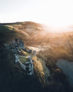 The first light over Corfe castle Country Breaks, Corfe Castle, The Beautiful South, English Castles, English Countryside, Adventure Awaits, One Light, Oh The Places You'll Go, Vacation Destinations