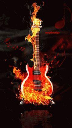 Guitar Art, Music Guitar, Cool Guitar, Pink Guitar, Guitar Painting, Acoustic Guitar, Gif Passion, Gif Animé, Animated Gif