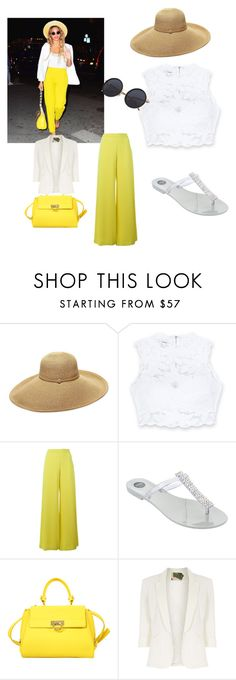 """""""Untitled #31"""" by jaliah-1 ❤ liked on Polyvore featuring Gottex, Bebe, P.A.R.O.S.H., Melissa, Salvatore Ferragamo, Jolie Moi, GetTheLook and hats"""