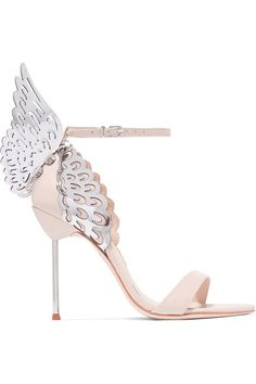 Heel measures approximately 100mm/ 4 inches Pastel-pink and silver leather Buckle-fastening ankle strap Come with dust bag