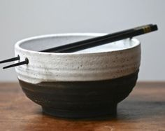 Black & white tea bowl Rustic handmade chawan by GolemDesigns