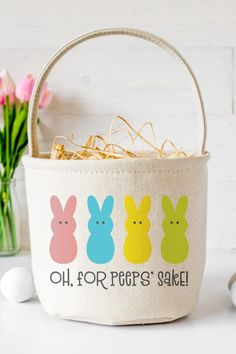 "Can't wait to get your hands on some marshmallow Peeps for Easter? This ""Oh, For Peeps' Sake!"" SVG is perfect for funny Easter shirts, baskets, and more! Easter Projects, Easter Crafts, Crafts For Kids, Easter Peeps, Hoppy Easter, Printable Iron On Vinyl, Marshmallow Peeps, Diy Outdoor Weddings, Tissue Paper Flowers"