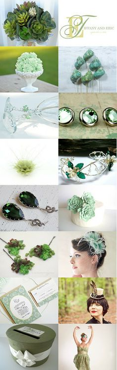 Wedding Ideas In Tones Of Green by Cheryl on Etsy--Pinned with TreasuryPin.com