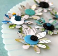 Recycled Flowers - Twice as Nice - made from recycled catalog pages and buttons