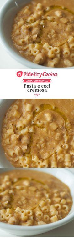 Pasta e ceci cremosa - Carb I Love Food, Good Food, Yummy Food, Pasta Recipes, Vegan Recipes, Cooking Recipes, Pasta Fagioli, My Favorite Food, Favorite Recipes