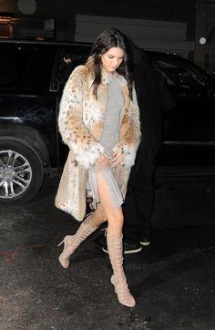 kendall jenner gray dress / faux fur coat