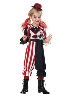 The Kreepy Klown Costume for kids comes with a jumper that has an attached bow, suspenders, and a hat. The Kreepy Klown Costume is available to purchase in these sizes: Toddler and a Small Buy Costumes, Scary Costumes, Halloween Costumes For Girls, Halloween Night, Girl Costumes, California Costumes, Creepy Clown, Colored Pants, Suspenders