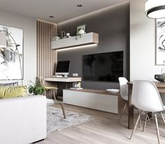 VK is the largest European social network with more than 100 million active users. Modern Tv Room, Modern Bedroom Design, Home Room Design, Home Office Design, Desk In Living Room, Interior Design Living Room, Home And Living, Living Room Tv Unit Designs, Living Room Inspiration