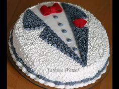 кремовые кудряшки на тортике - YouTube Buttercream Cake Designs, Cake Decorating Frosting, Cake Decorating Designs, Creative Cake Decorating, Cake Decorating Videos, Birthday Cake Decorating, Cake Design For Men, Simple Cake Designs, Beautiful Cake Designs