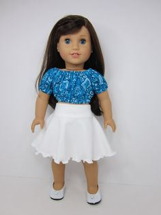 American girl doll clothes- Turquoise  Blue crop peasant top and white skater skirt by JazzyDollDuds.